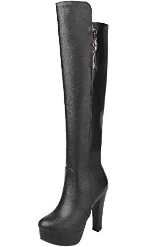 Knie Hohe Cowboy-stiefel (Unbekannt Knie Hohe Stiefel Damen PU Leder Casual High Heel Herbst Winter Warme Plateau Lange Stiefel von Bigtree Schwarz 38 EU)