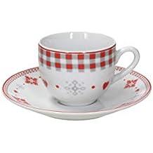 Tognana juego de 6 tazas de café Vichy Red, Porcelana, ...