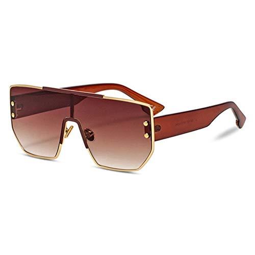 Taiyangcheng Polarisierte Sonnenbrille Weinlese-übergroße Sonnenbrille-Frauen-Retro- Niet-Flacher Spitzenrahmen-Steigungs-Sonnenbrille-Mann-Brillen-weibliches Objektiv,A6