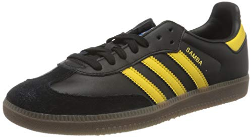 adidas Mens Samba OG Sneaker, Core Black/EQT Yellow/Bluebird, 46 2/3 EU