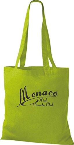 ShirtInStyle Stoffbeutel Jute Monaco High Societhy Club diverse Farbe kiwi