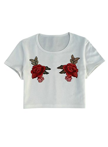 ACHICGIRL Women's Short Sleeve Floral Embroidery Crop Top Tee white