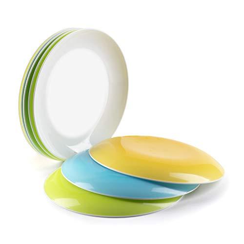 Platos plastico duro reutilizable cocina desayuno postre aperitivos vajilla fiesta - juego de 8 platos...