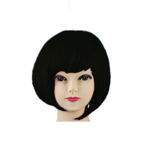 Jazooli Womens Ladies Short Bob Fancy Dress Full Hair Clip Wig Costume Cosplay Party - Black