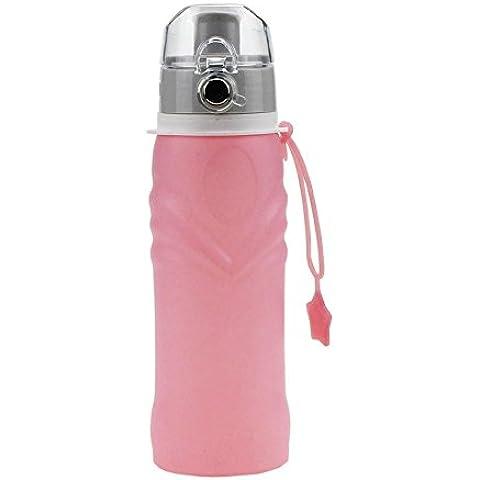 Caldera que acampa de escape del agua 750ml botella de silicona a prueba de agua plegable Deportes Para Visita Actividades silicona taza de agua (rosado)
