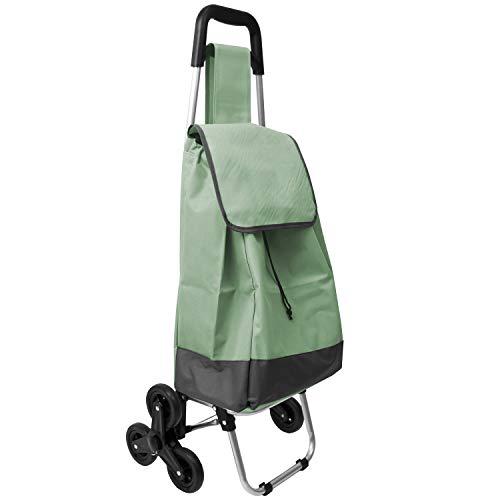 NZD Einkaufstrolley 30L, 3-Rad Treppensteiger, 42x32xH96cm, Gestell klappbar, Einkaufsroller Einkaufswagen Shopping Trolley (Grün)