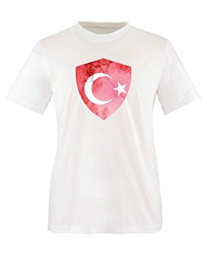Comedy Shirts - Türkei Trikot - Wappen: Groß - Wunsch - Kinder T-Shirt - Weiss/Rot Gr. 152-164