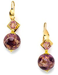Rebollo, Parthenopeans Craftsman's - Partenope Earrings in Swarovski Crystals, Murano Glass Beads, Amethyst Color