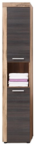 Preisvergleich Produktbild Trendteam 1259-101-59 Badezimmer Hochschrank Schrank Cancun Boom, 36 x 184 x 31 cm in Nussbaum Satin  Dekor mit offenen Fach