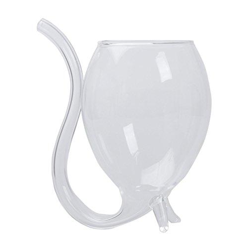ein/ Wasser-Glas-Schalen-Becher mit Trinkschlauch-Stroh-Neuheit-Geschenk (Gläser Stroh)