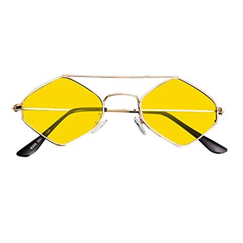 fazry Damen Jahrgang Eng Katzenauge Zweistrahl Diamant Metall Rahmen Sonnenbrille Brillen(Gelb)
