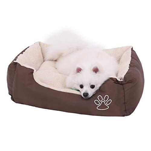Songmics Hundebetten Hundekissen hundedecke Beidseitig Nutzbar Externe Brown (S: 60 x 48 x 15 cm) - 5