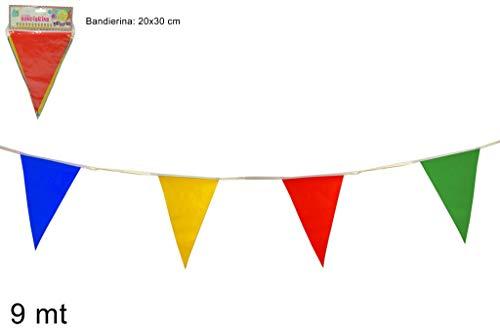 Maison Party by P.L.T. srls Wimpelkette dreieckig bunt dekoriert für Ihren Garten, Haus, im Freien, Feste, Event