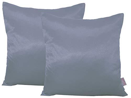 beties Paket mit 2 x Glanz Satin Kissenbezug 40x40 cm anschmiegsam & edel 100% Polyester in 4 Größen (Silber grau)