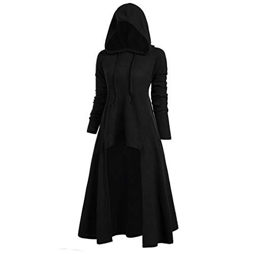 Kostüm Hacker Mädchen - Xmiral Damen Tops Kleid Mit Kapuze Plus Size Vintage Umhang Hoch Niedrig Hem Perfektes Kostüm für Karneval Fasching(3XL,Schwarz)