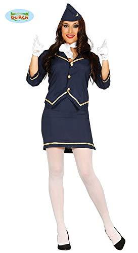 Sexy Stewardess Offizierin Kostüm für Damen Karneval Fasching Luftfahrt Blau Gr S - L, ()