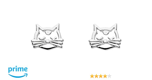 Dew 925 Sterling Silver Open Pussy Cat Stud Earrings with Gift Box