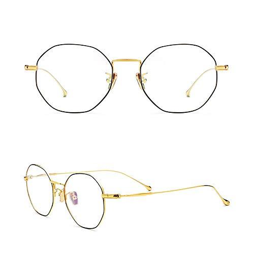 WULE-RYP Polarisierte Sonnenbrille mit UV-Schutz Retro runde ultraleichte klare Brille, Brillengestell für Damen/Herren. Superleichtes Rahmen-Fischen, das Golf fährt (Farbe : Black/Gold)