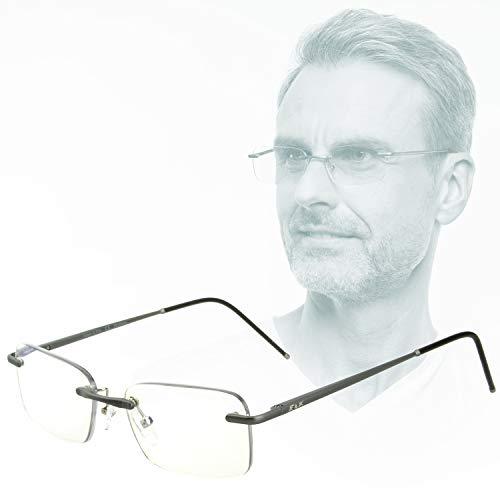 Edison & King Lesebrille Free randlose Brille aus Aluminium mit Federscharnieren - extra leicht (mit Entspiegelung und Etui, Anthrazit, 3,00 dpt)