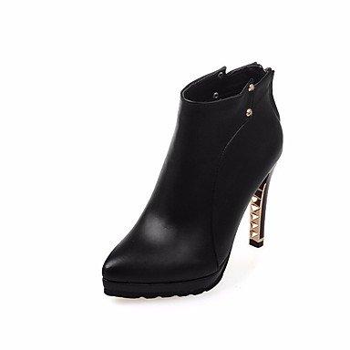 Rtry Femmes Chaussures Pu Printemps Automne Pompe Base Bottes Talon Stiletto Genou Pointu Bottes Cuisse Haute Casual Vêtements Rouge Noir Beige Us7.5 / Eu38 / Uk5.5 / Cn38