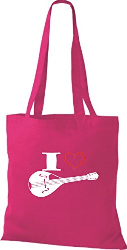 Shirtstown Pochette en tissu Musique I Love Mandoline Rose - Fuchsia