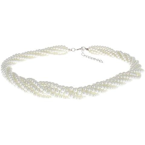 Victorian a fili multipli con perle-Collier girocollo a spirale, colore: Avorio