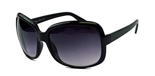 Große Damen Retro Sonnenbrille Vintage Butterfly Stil 60er 70er Jahre Wrap around FrameJK84 (Mod.2: Schwarz)