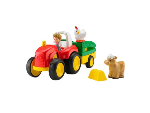 Mattel BJT40 - Fisher-Price Little People Traktor, inklusive 1 Bauernfigur und 2 Tierfiguren (Bauernhof Little People)