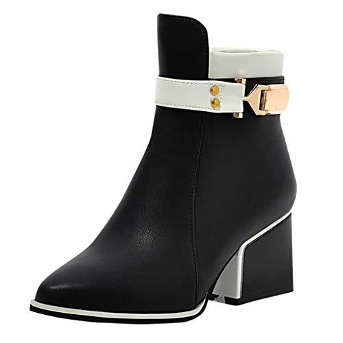 Maleya Stiefeletten Damen Quadratische Low Heel Stiefel Retro Ankle Boots Herbst Winter Kurze Stiefeletten Outdoor Freizeitschuhe Zip Winterstiefel Lässig Lederstiefel