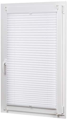AmazonBasics - Estor enrollable plisado, de tela de poliéster color liso, con sistema de clips, 70 x 130 cm, Blanco