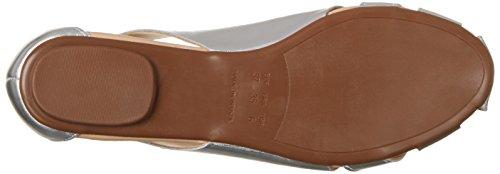 Shoe Biz Damen Sandal Flat Geschlossene Keilabsatz Silber (Vegetal Silver)