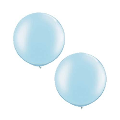 Unbekannt XXL Ballons rund Pastell, blau, 2 St, Riesen Luftballons, 75 cm Durchmesser
