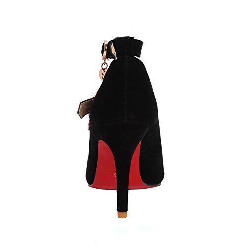 Flangia Cm Scamosciata Pompa Uh 8 Appuntita Donne Senza Caviglia Medio Vassoio Elegante Nero Fine Tacchi xRxfwtYz