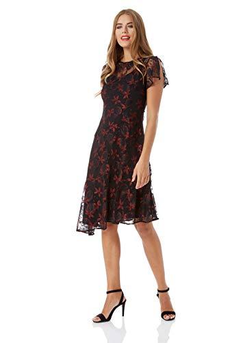 Roman Originals Damen mittellanges Spitzen-Kleid mit asymmetrischem Saum - Damen Kurze Ärmel, Knielang, zum Ausgehen, Kleid, geblümt, abends, Cocktails, Partys - Rot - Größe 48