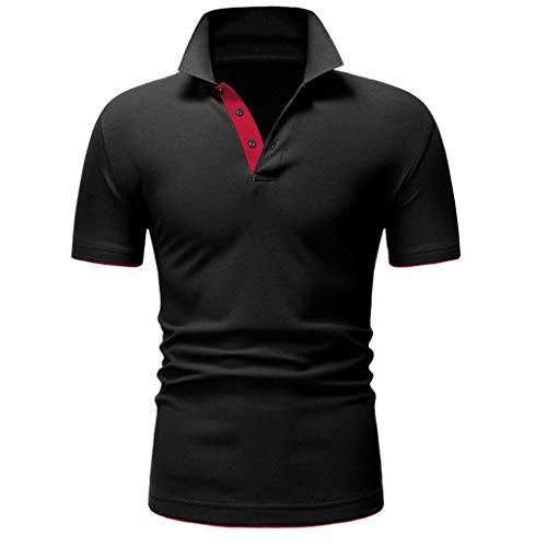 ZHANSANFM Poloshirt Herren Stehkragen Kurzarm Polohemd Polo Shirts Button Down Basic Casual Tops mit Polokragen T-Shirt Freizeit Fitness Muskelshirt Modern Regular Fit Elegant (M, rot) -