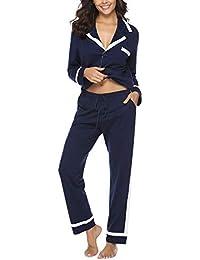 Hawiton Damen Schlafanzug Lang Baumwolle Nachtwäsche mit Hosen Hausanzug Sleepwear mit Knöpfeleiste
