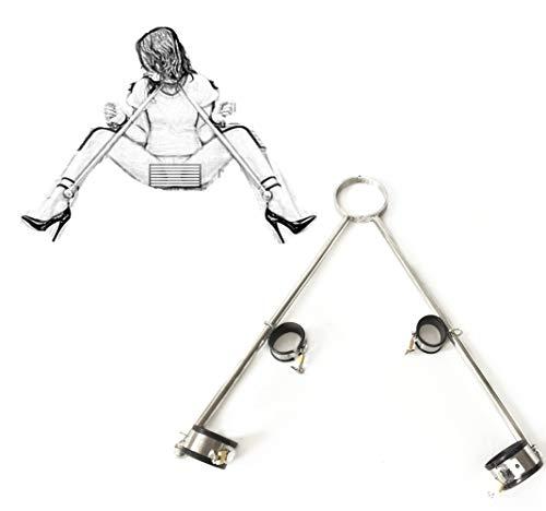 Luxus Spreizstange BDSM Bondage-Set, Handschellen + Fußfesseln + Neck Collar Verstellbare, Fesseln Restraints mit Metall Fesselstange, Slave Fetisch Sexspielzeug für Frauen Männer Paare, Edelstahl