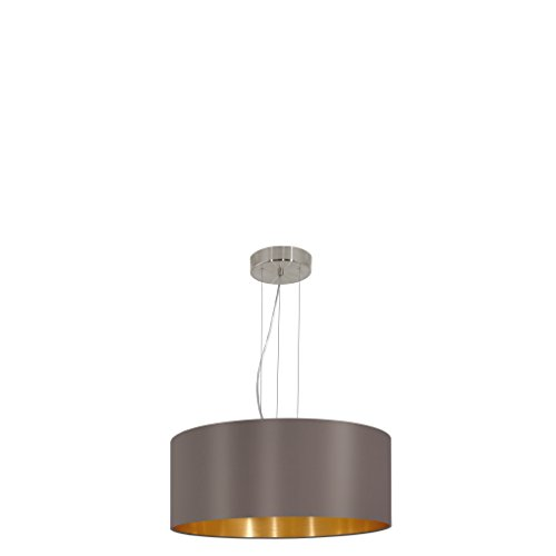 EGLO Hängeleuchte Maserlo Durchmesser 53cm Nickel-Matt Schirm Cappucino Gold, Stahl, E27, 53 x 53 x 110 cm (In Schwarz Und Silber, Stoff)