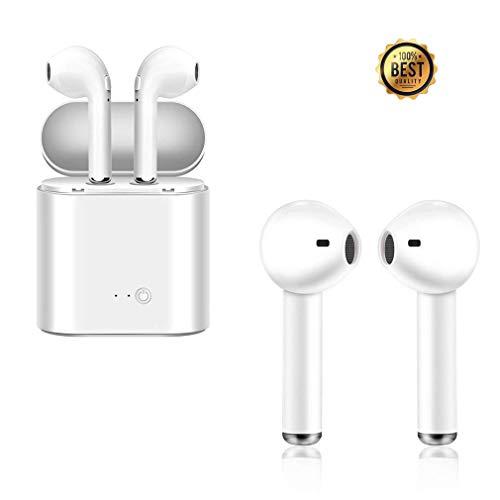 Bluetooth Kopfhörer,Wireless Bluetooth Kopfhörer mit Mikrofon,Stereo-Sport-Kopfhörer mit Ladekabe für IOS und Android - Weiß