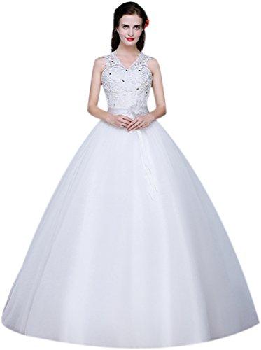 Eyekepper Robe Femme / demoiselle la robe de mariee robes mariage elegant longue robe nuptiale Blanc