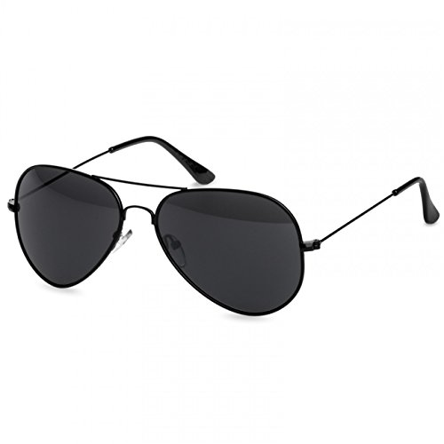 CASPAR - Lunettes de soleil AVIATEUR modèle classique unisexe qualité PREMIUM - Plusieurs modèles - SG032 Noir / noir