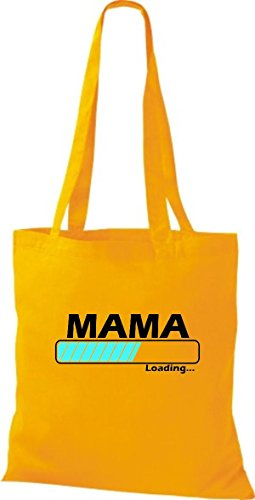 Jute Stoffbeutel Mama Loading viele Farben goldgelb
