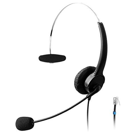 Wantek Call Center Téléphone Casque Monaural Casque de Musique avec Noise Cancelling Micro pour Plantronics M10 M12 Amplificateurs et Cisco Unified IP Téléphones 7940 7941 7942 7945 7960 7961(510P1B)