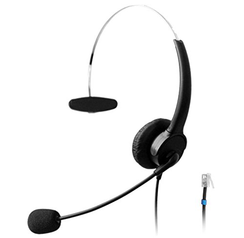 Wantek Call Center Telefon Headset Monaural Kopfhörer mit Mikrofon for Plantronics M10 M12 Verstärker und Cisco Unified IP Telefone 7940 7941 7942 7945 7960 7961(510P1B)