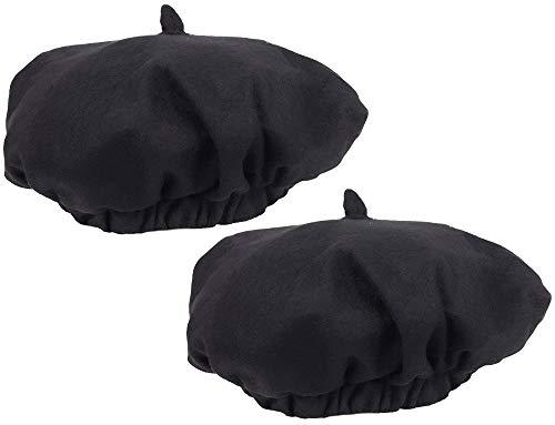 com-four® 2 Baskenmützen in schwarz für Karneval, Fasching, Halloween oder andere Mottopartys (Baskenmütze - 2 Stück) (In Halloween Französisch)