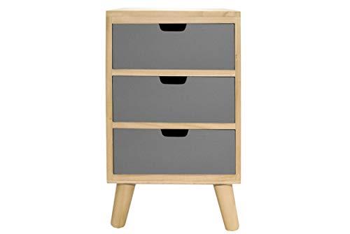 Comodino con 3 cassetti in legno massello grigio tavolo moderno ...