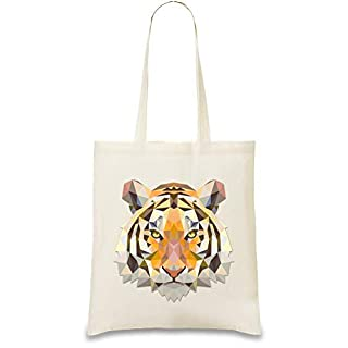 Dreieck Tigerkopf - Triangle Tiger Head Custom Printed Tote Bag| 100% Soft Cotton| Natural Color & Eco-Friendly| Unique, Re-Usable & Stylish Handbag For Every Day Use| Custom Shoulder Bags By Frauen