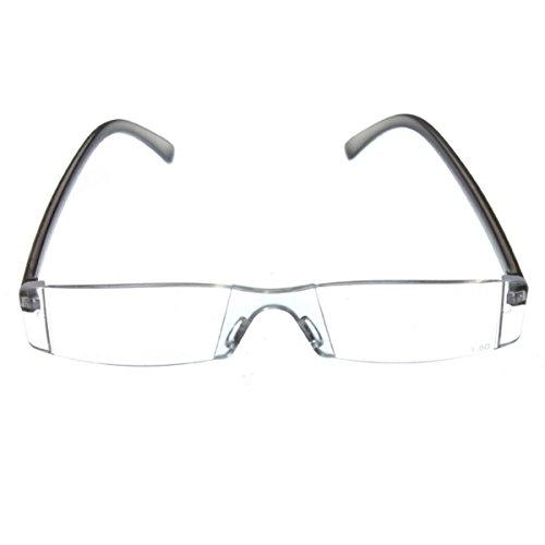 Trendige Lesebrille Nerd Brille Lesehilfe Sehhilfe Modern Design Randlos +1.0 bis 3.5
