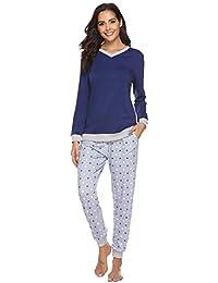Hawiton Damen Pyjama Schlafanzug Lang Zweiteilige Nachtwäsche Hausanzug Sleepwear aus Baumwolle Langarm V Aussschnitt mit Gepunkte Hose