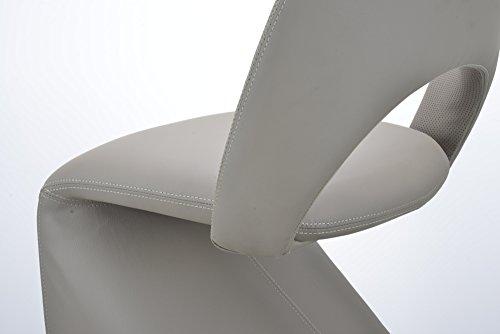 CAVADORE Schwingstuhl 2-er Set LOGAN / 2x gepolsterte Esszimmerstühle in modernem Design / Bezug Kunstleder beige / schlamm Farbe / 52 x 89 x 55 cm (B x H x T) - 7